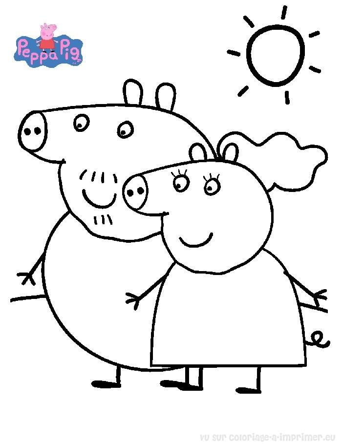 dessin à colorier peppa pig et ses amis