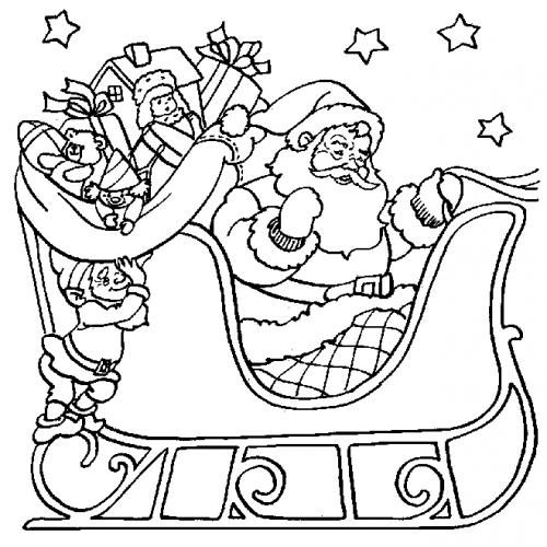 dessin à colorier pere noel et rennes