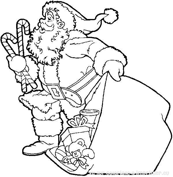 dessin à colorier pere noel et cheminee