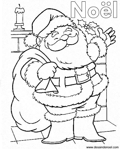 coloriage à dessiner virtuel pere noel