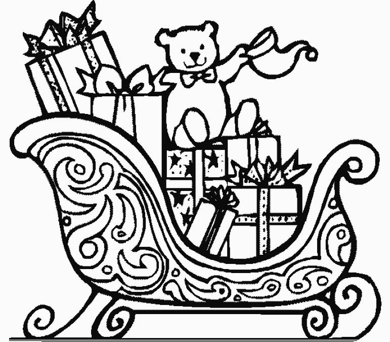 coloriage à dessiner pere noel et rennes