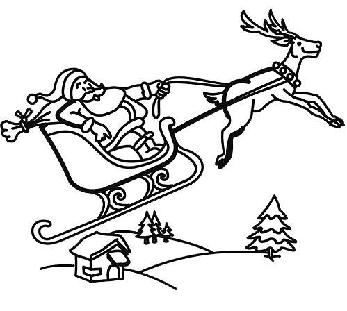 coloriage à dessiner pere noel avec rennes