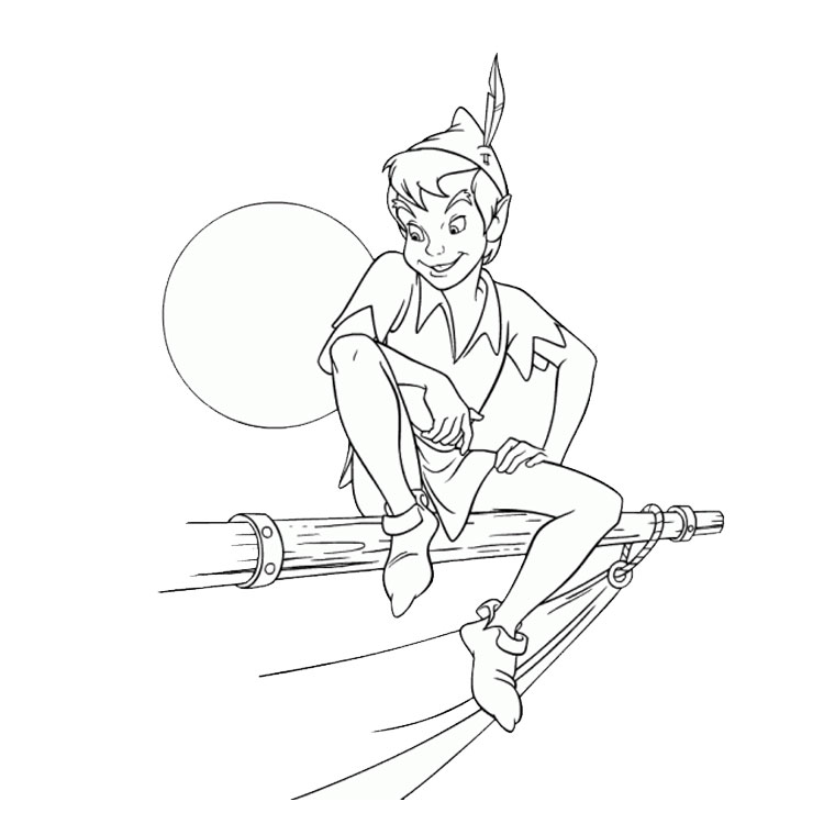 dessin à colorier bateau pirate peter pan