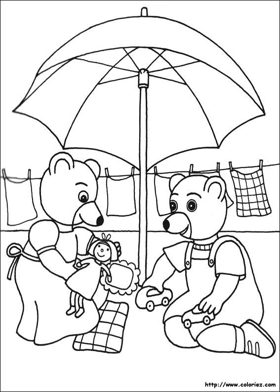 coloriage à dessiner petit ours brun neige