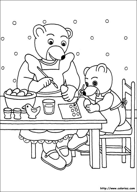coloriage petit ours brun et sa maman