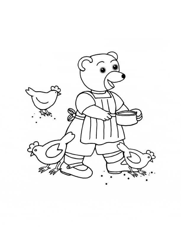 dessin petit ours brun va � l'�cole