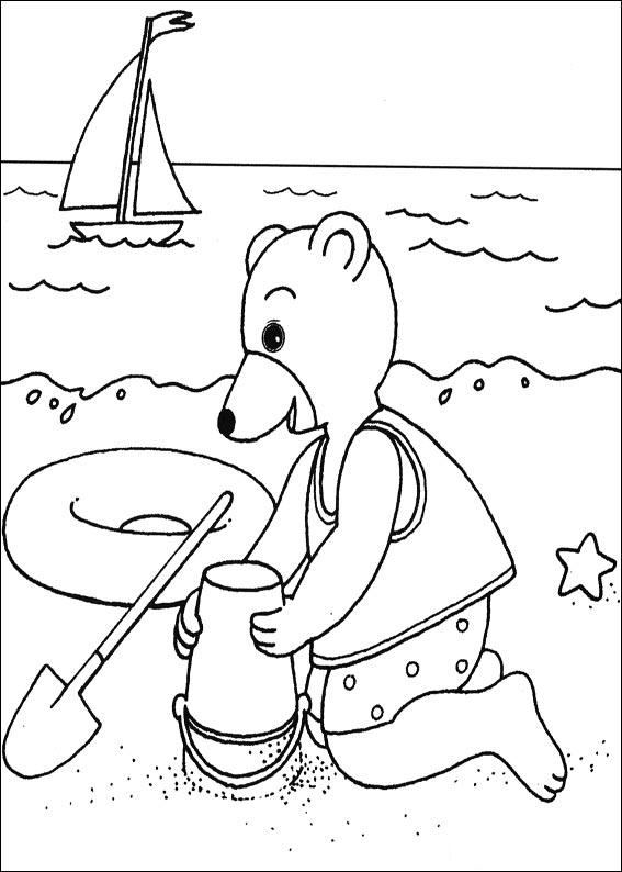 petit ours brun à la piscine dessin à colorier