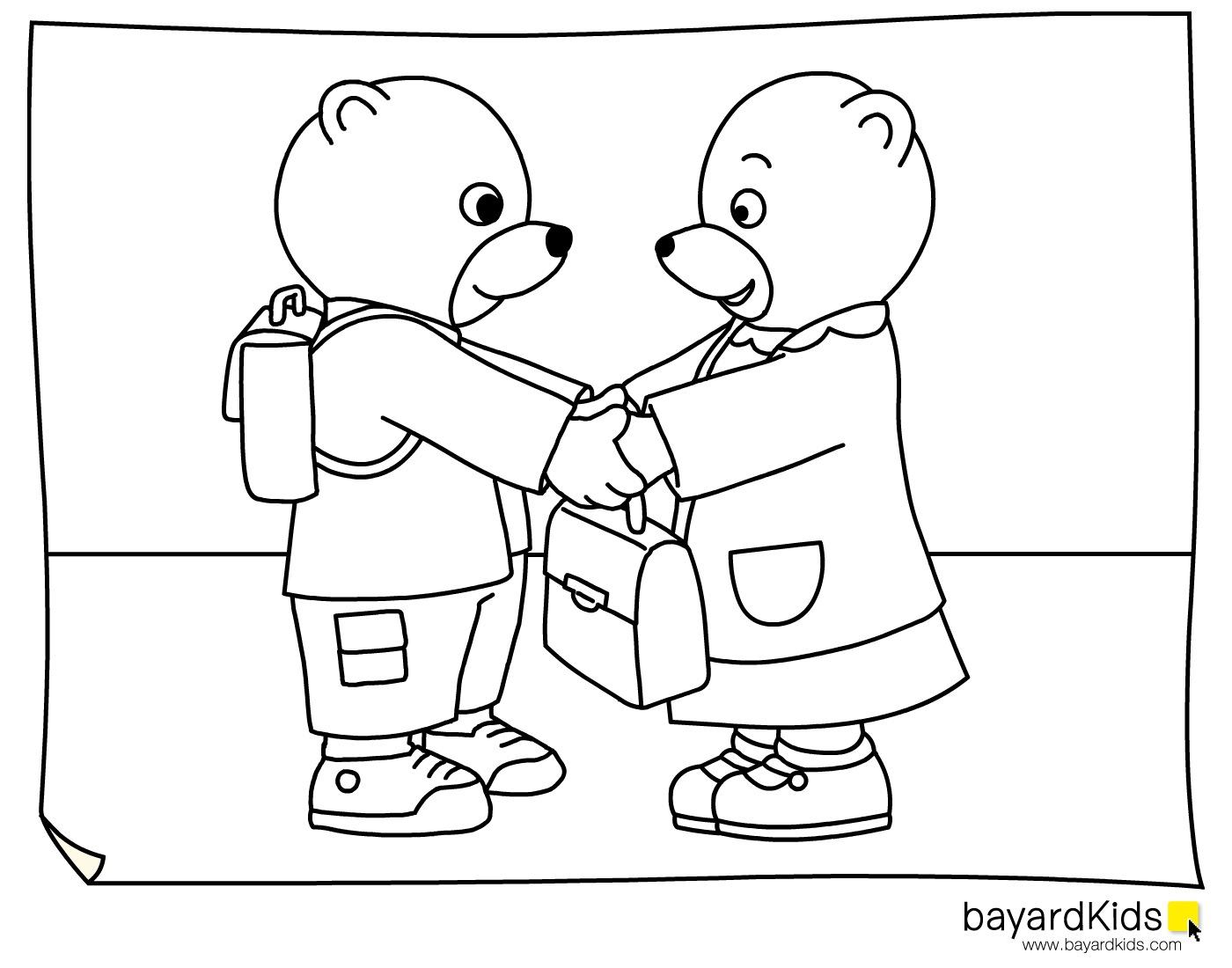 coloriage à dessiner petit ours brun s habille