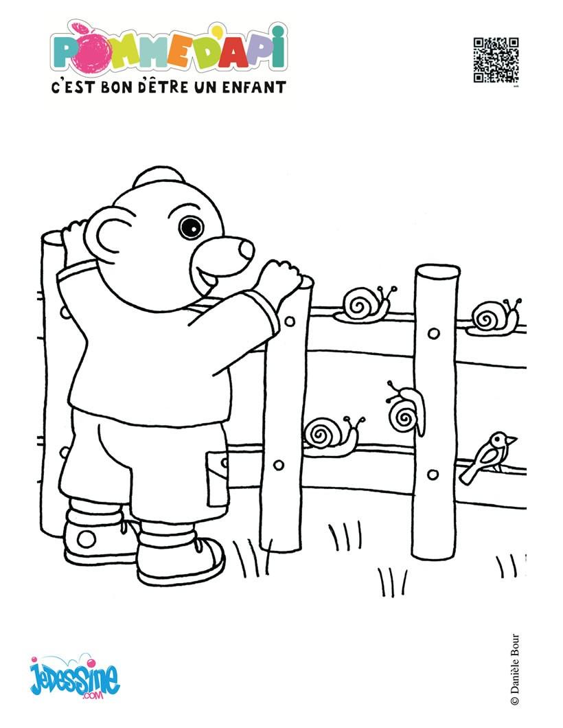 dessin petit ours brun jardine