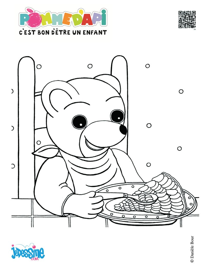 coloriage à dessiner petit ours brun jardine