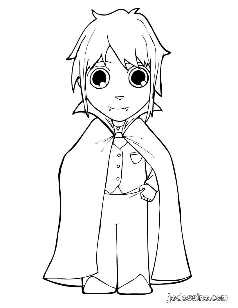 dessin � colorier de petit vampire