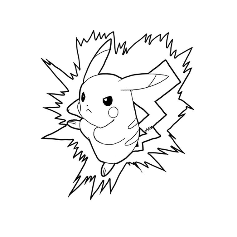 dessin à colorier pikachu mignon
