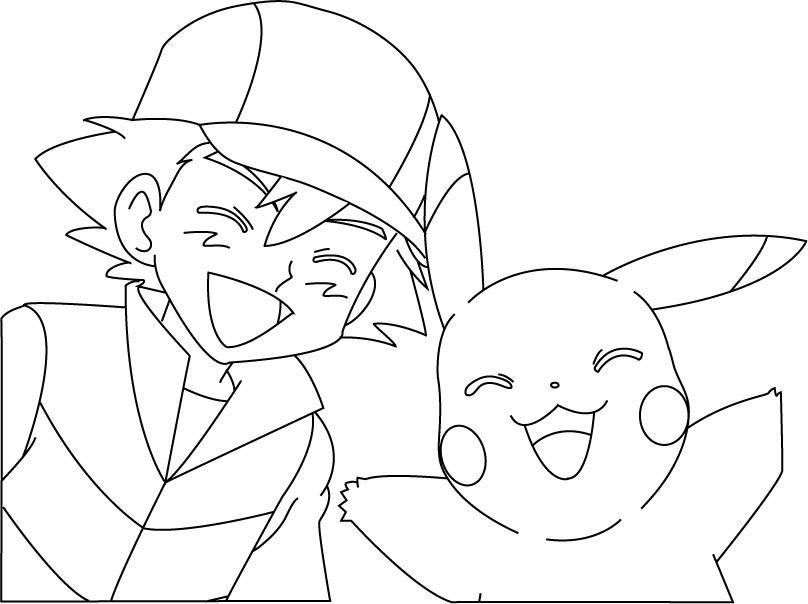 Coloriage pikachu et sacha a imprimer - Pikachu dessin ...