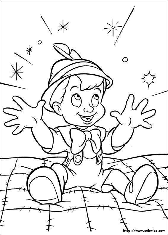 dessin à colorier gratuit pinocchio imprimer
