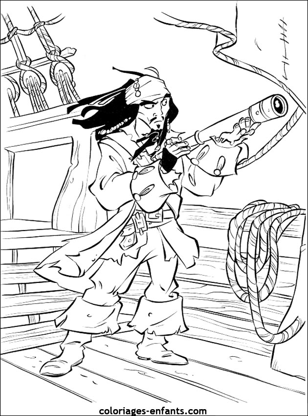 dessin à colorier coffre pirate