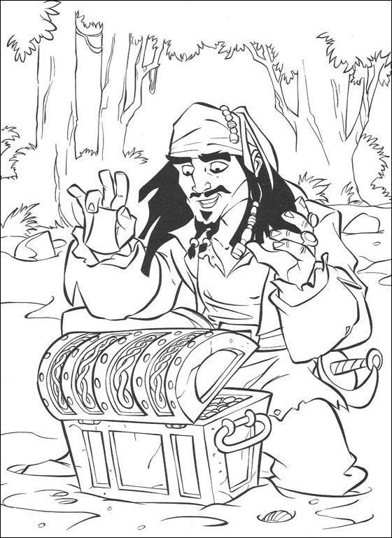 jeux de dessin à colorier pirate des caraibes