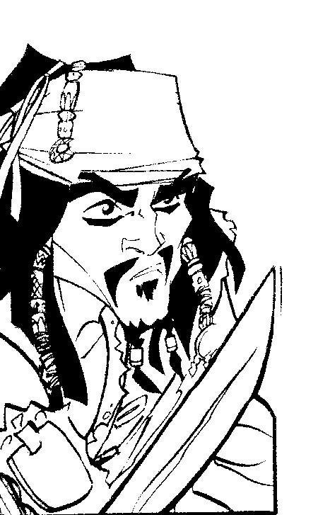 dessin à colorier de pirate des caraibe 4 a imprimer