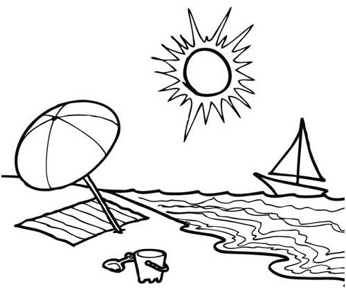 98 dessins de coloriage plage mer imprimer - Dessin vacances mer ...