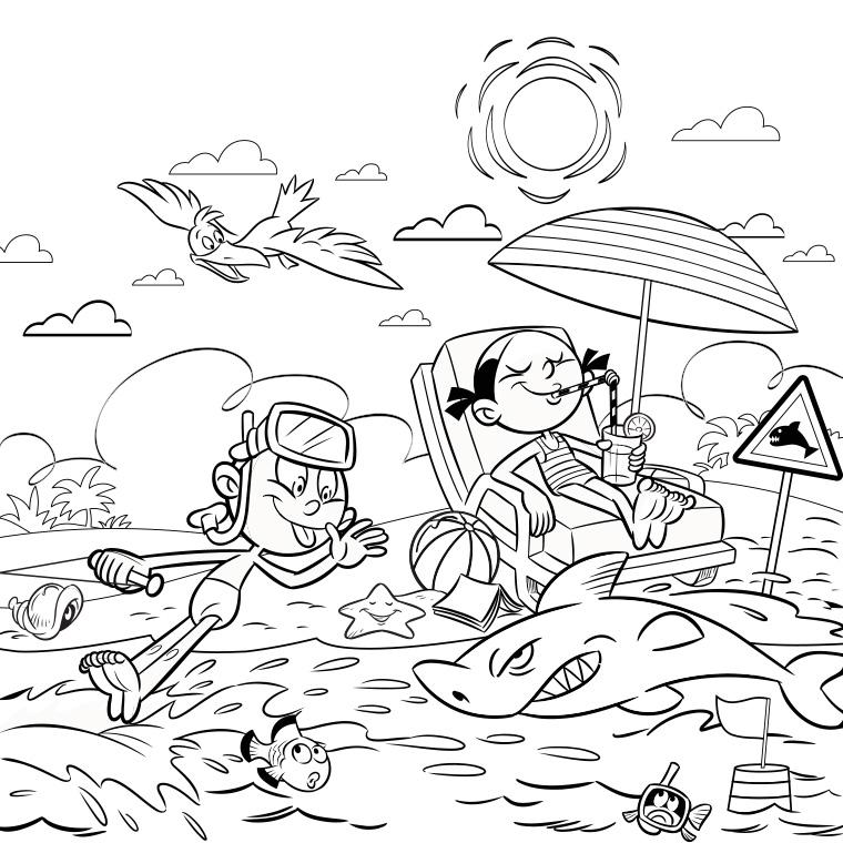 96 dessins de coloriage plage vacances imprimer - Coloriage de plage ...