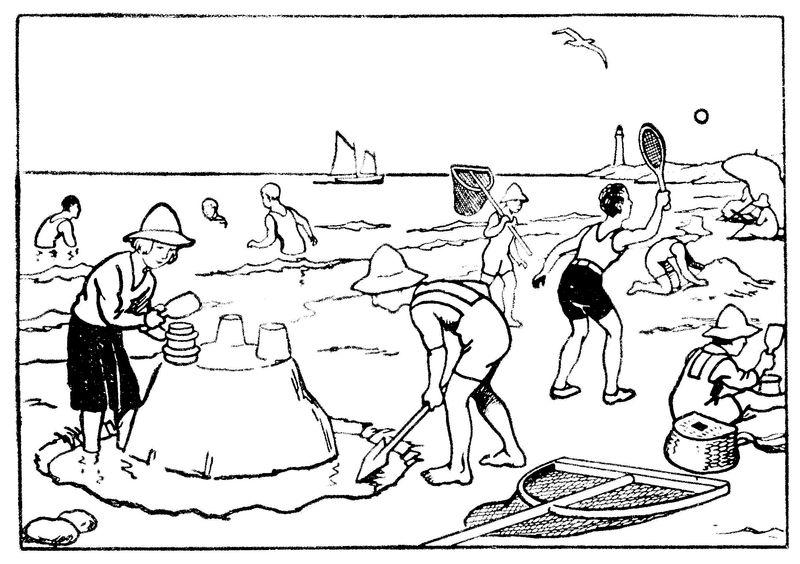dessin à colorier paysage plage