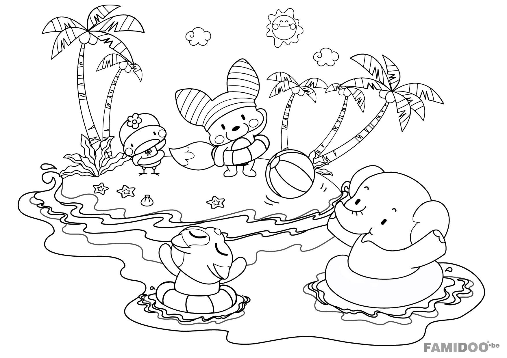 coloriage à dessiner plage antilles