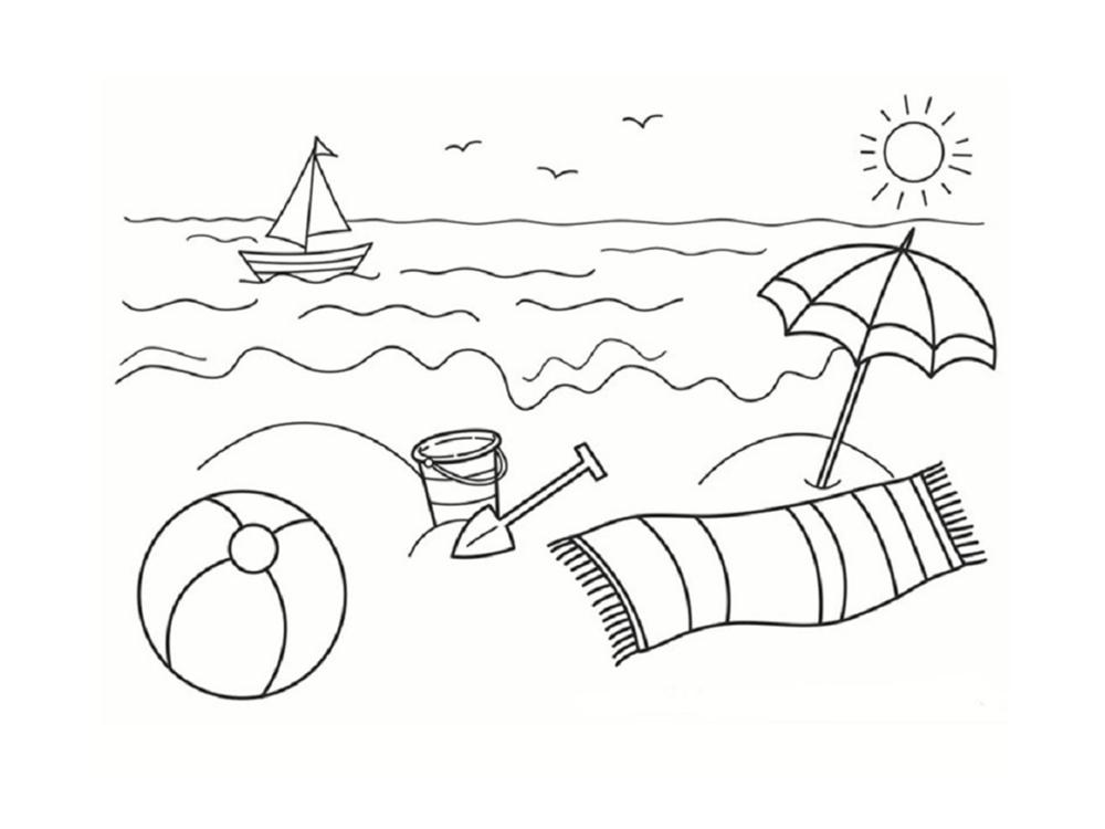 dessin plage à colorier