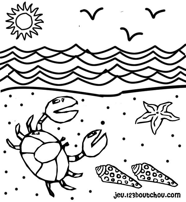 coloriage à dessiner theme la plage