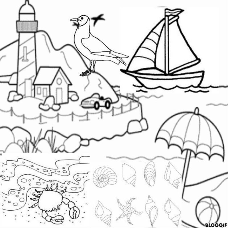 Colorier une plage - Coloriage de plage ...