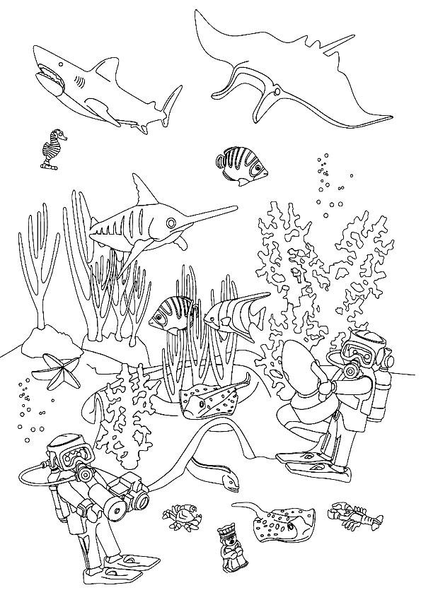 dessin à colorier playmobil famille