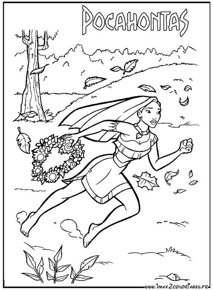 coloriage à dessiner pocahontas gratuit