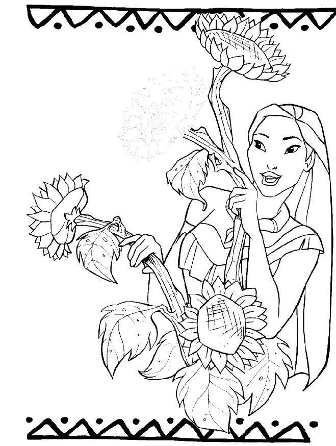 imprimer dessin à colorier pocahontas