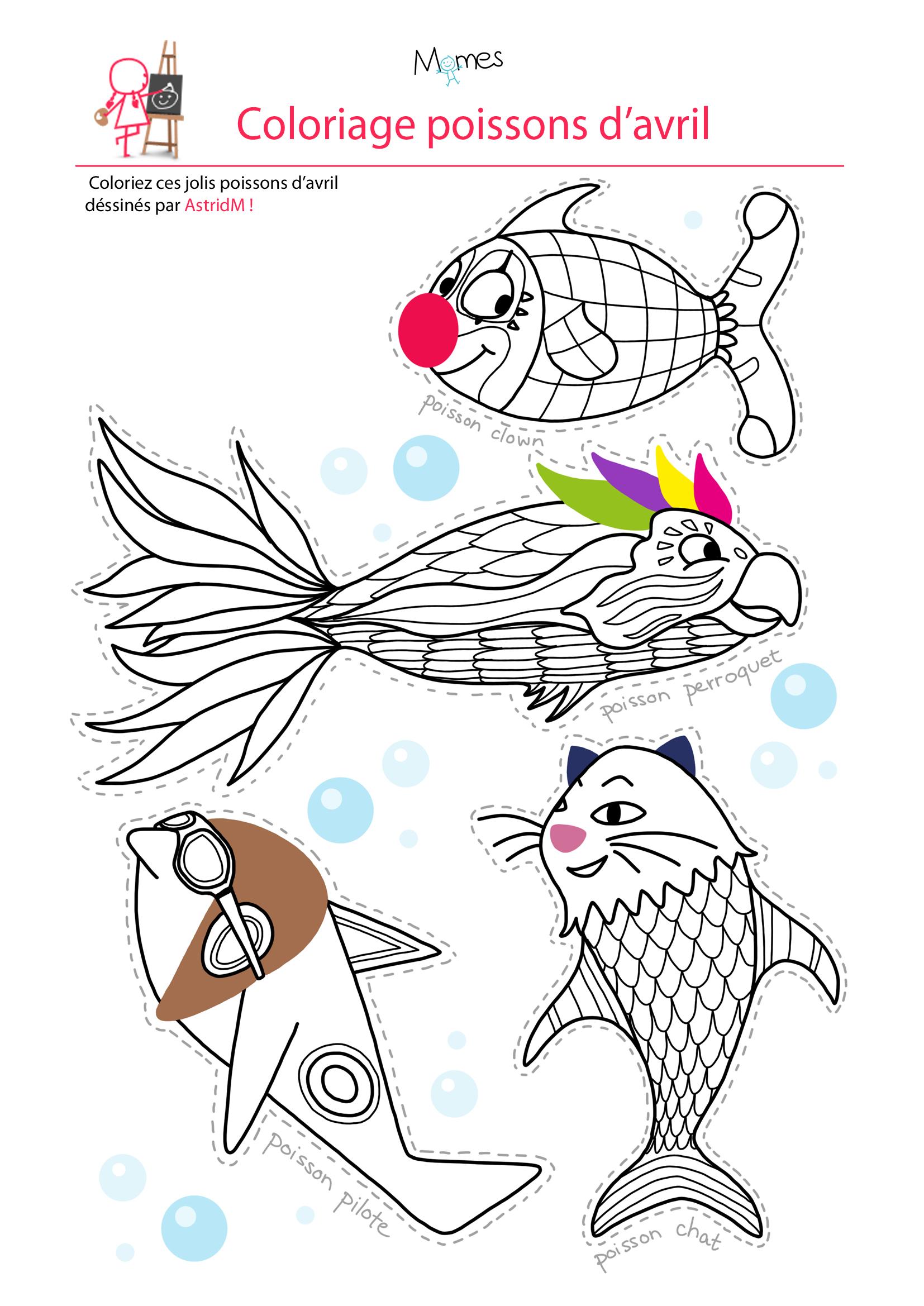 dessin imprimer poisson avril