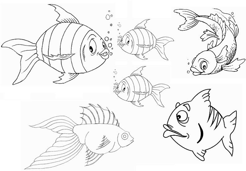 dessin à colorier de poisson d'avril facile