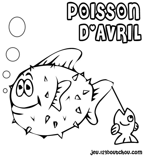 Dessin colorier poisson d 39 avril a decouper - Dessin poisson d avril rigolo ...
