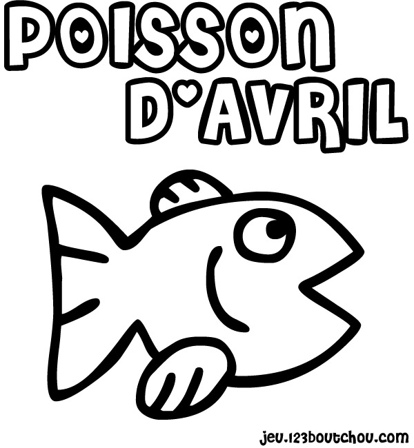dessin à colorier poisson d'avril tfou