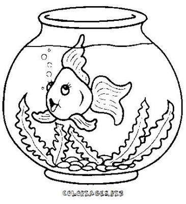 Coloriage de poisson rouge dans un bocal - Dessin de poisson rouge ...