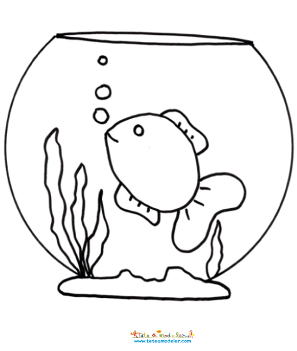 Dessin colorier de poisson rouge dans un bocal for Bocal de poisson