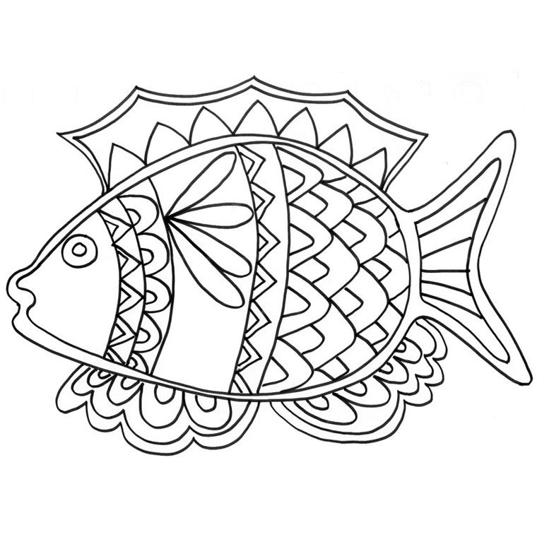coloriage à dessiner poisson rouge imprimer