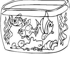 coloriage à dessiner poisson rouge dans son bocal