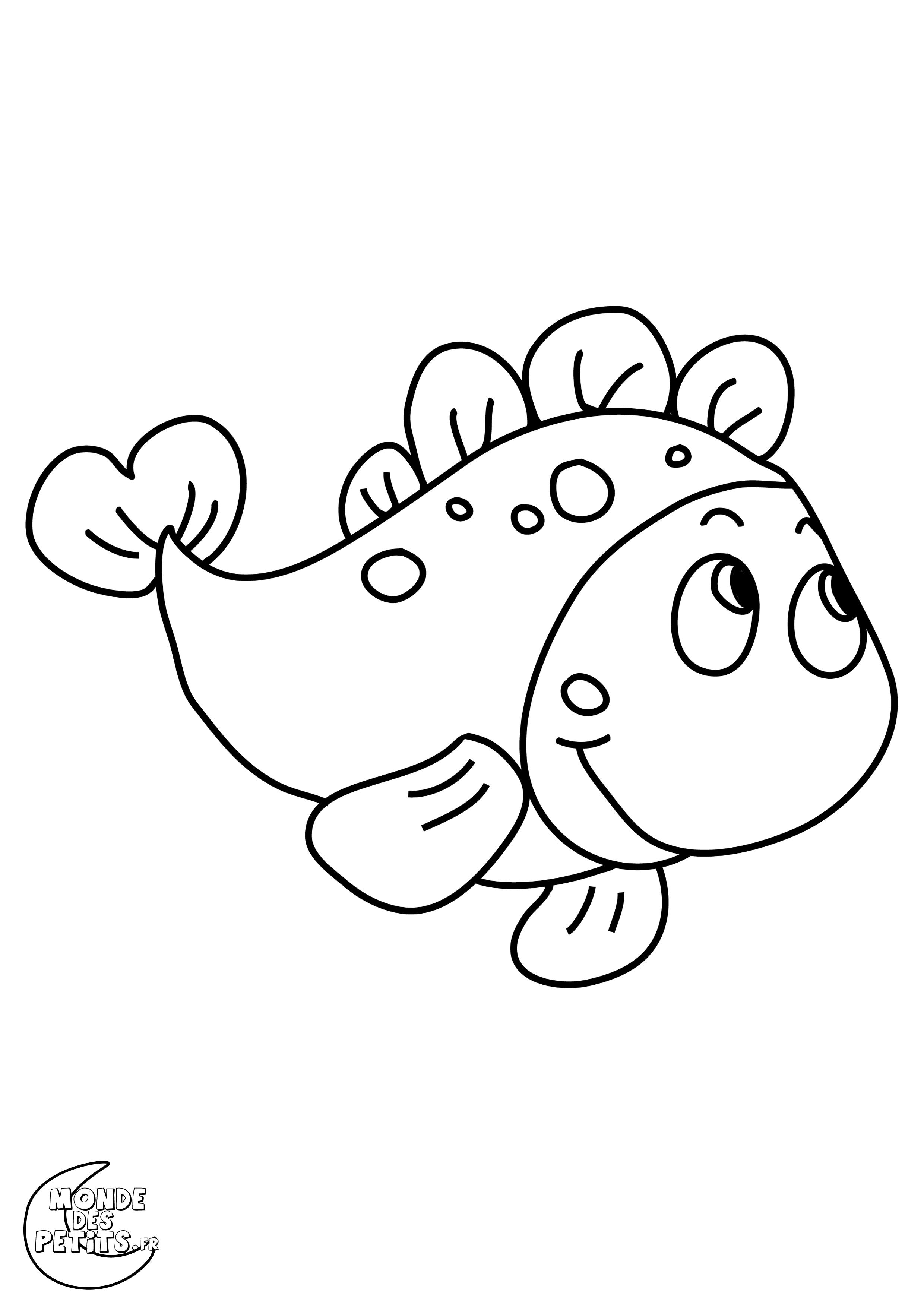 dessin à colorier un poisson