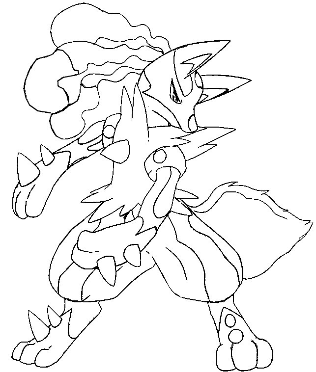 coloriage à dessiner pokemon lucario mega evolution