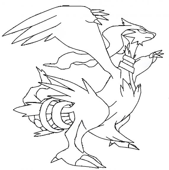 20 dessins de coloriage pokemon zekrom imprimer - Pokemon noir et blanc personnage ...