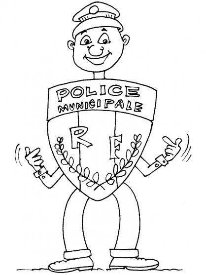 coloriage à dessiner à imprimer policier