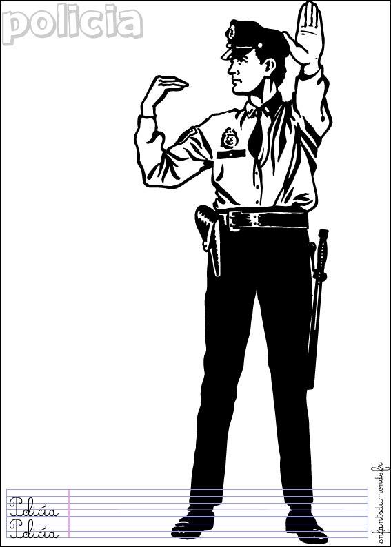 coloriage à dessiner pistolet police