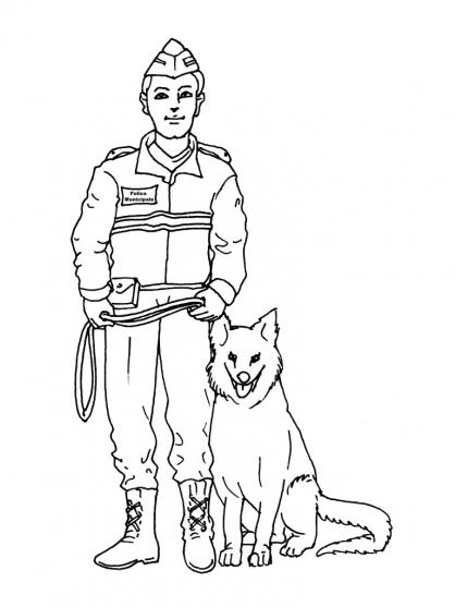 dessin à colorier fourgon police