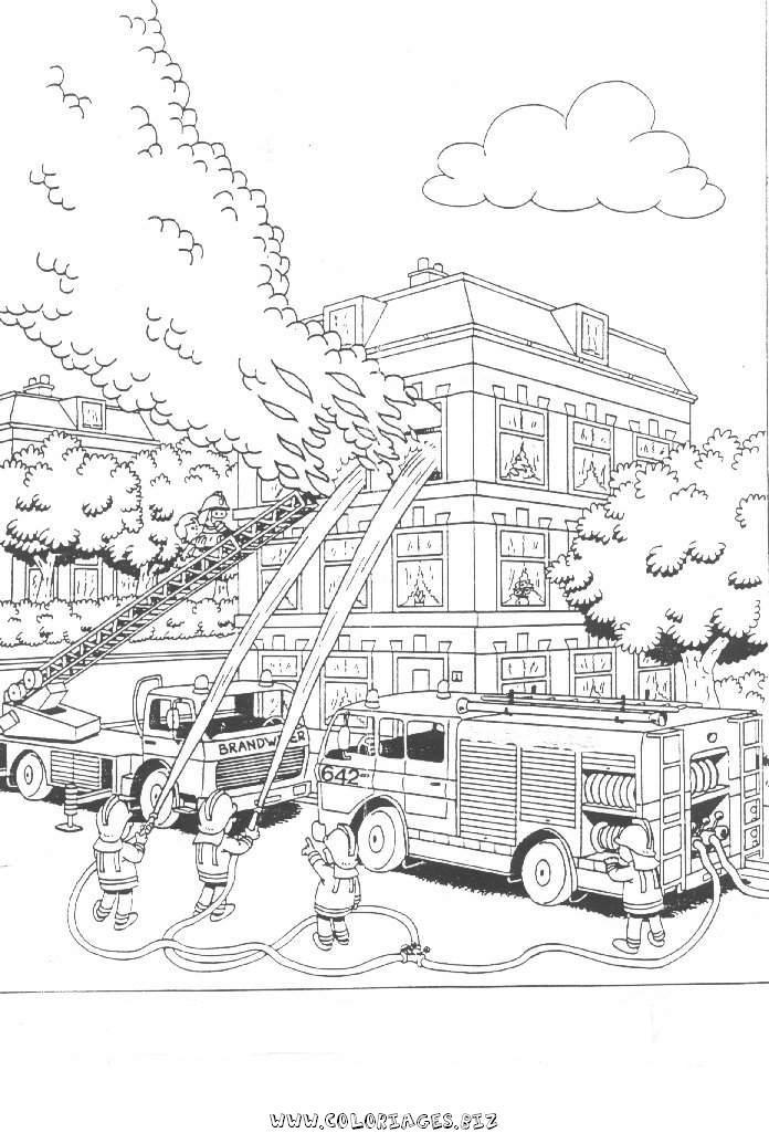 15 dessins de coloriage pompier adulte imprimer - Dessin caserne pompier ...