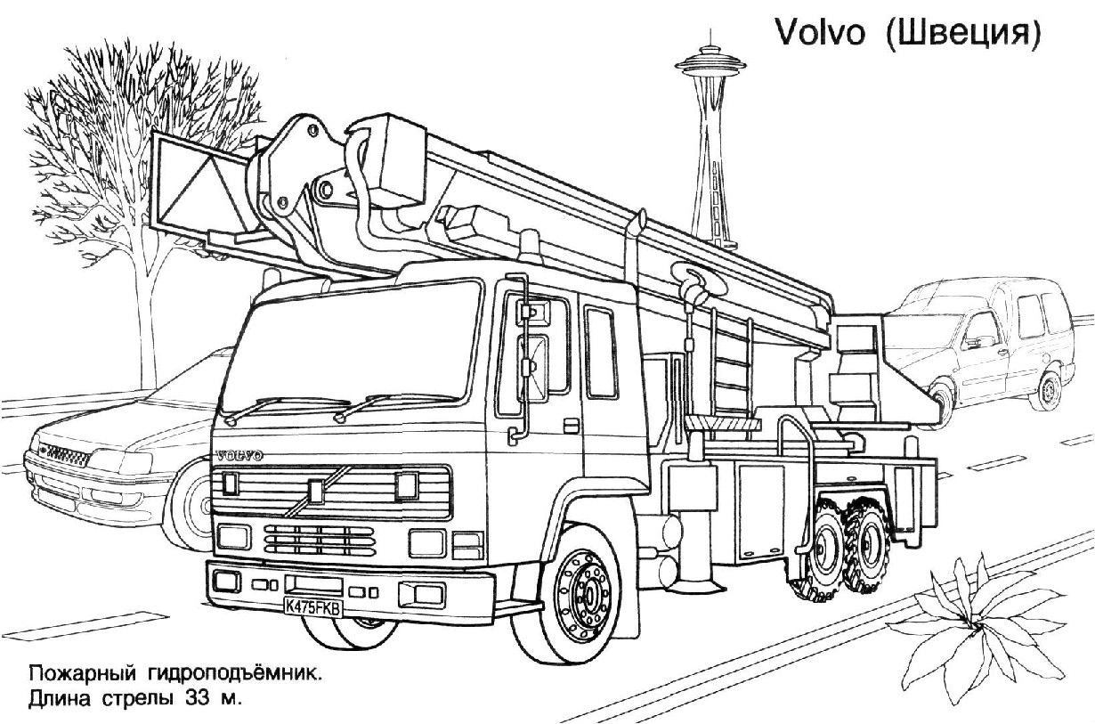 5 dessins de coloriage Pompier Camion à imprimer