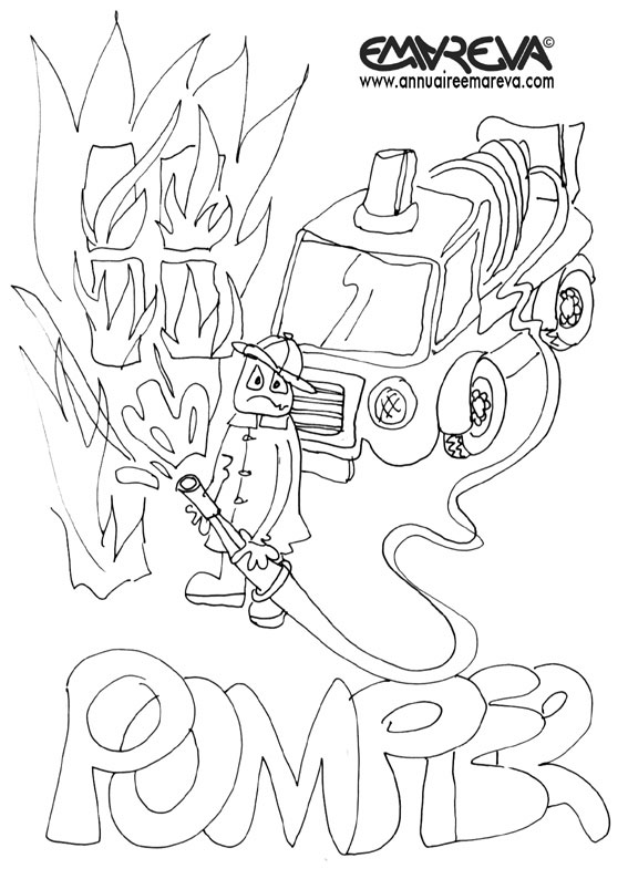 13 dessins de coloriage pompier feu imprimer - Dessin de pompiers a imprimer ...