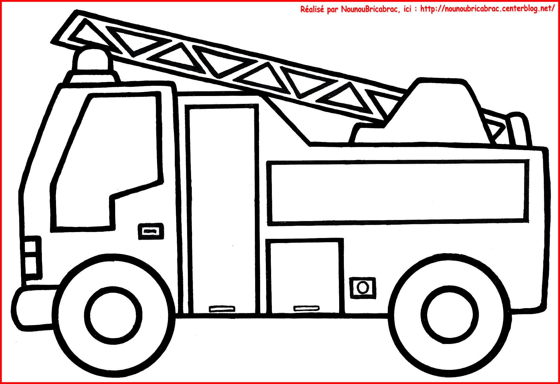 dessin en ligne voiture pompier