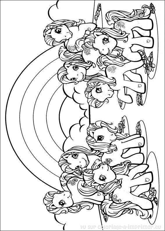 dessin à colorier poneys volants